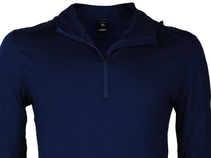 Produktfoto eines blauen Longsleeves aus Merinowolle der Marke Dilling
