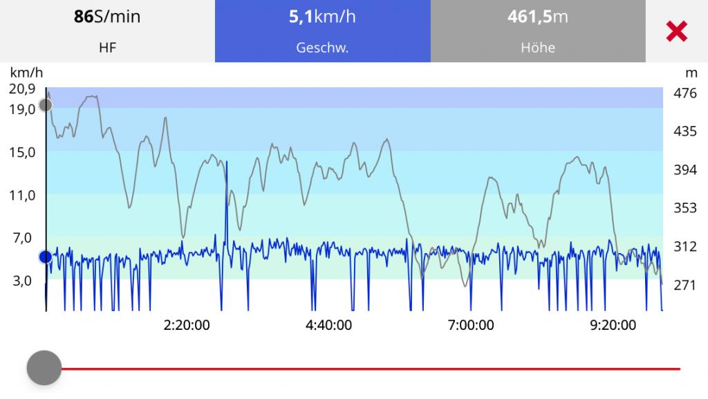 Screenshot aus der App Polar Flow. Angezeigt wird ein Höhenprofil und ein Geschwindigkeitsverlauf.