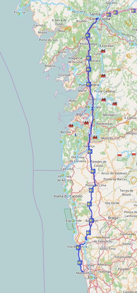 Camino Portugues Karte.Caminho Português Von Porto Nach Santiago Geh Doch